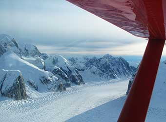 The great gorge of the Alaska range seen from Sheldon Air Service Cessna 185.