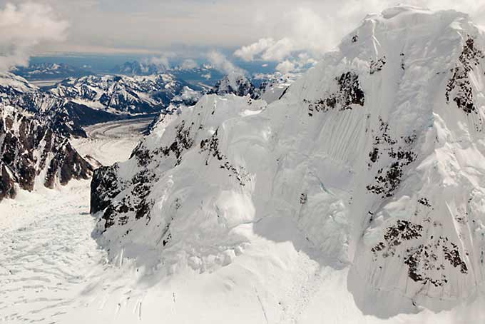 Wickersham Wall on Mount McKinley Grand air tour.